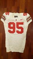 #95 White Game Worn Ohio State Buckeyes Football Jersey - Size 52 - Nike Team A
