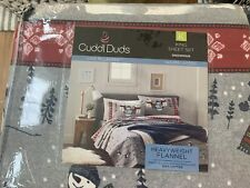 Cuddle Duds HeavyWeight Flannel Sheets King Size Snowman