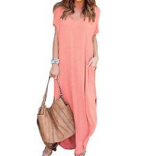 Summer Women's T-Shirt Long Maxi Split Evening Party Solid Shirt Dress Plus Size