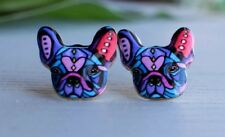 One Pair -  French Bulldog Stud Earrings with gift bag