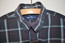 Ben Sherman blue check short sleeve shirt size medium casual mod