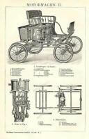 1899= AUTOMOBILI ANTICHE = Stampa Antica = Old Engraving