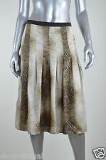 Jones New York New Beige Animal Print Pleated Satin Skirt MSRP $119 Size 12