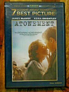 Atonement DVD 2008 Full Screen Frame James McAvoy Keira Knightley Romance Drama