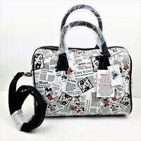 Disney Parks Mickey & Minnie Mouse Newsprint Barrel Handbag Purse Crossbody Bag