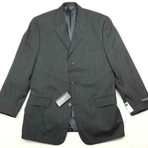 NEW Jhane Barnes Men's Wool Blazer Charcoal Gray Pinstripe • 40 R