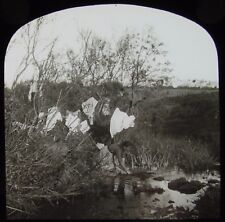 Glass Magic Lantern Slide WOMAN WASHING CLOTHS IN STREAM C1890 VICTORIAN PHOTO