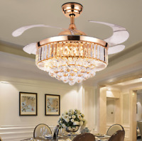 """42"""" Rose Gold LED Crystal Ceiling Invisible Fan Light Chandelier Lamp Fixture"""