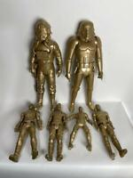 Set of  6 Gold Sprayed Super Hero Toy Figurines for Homemade Statue Award