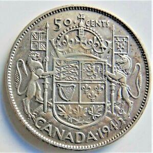 1945 CANADA, George VI, Silver 50 Cents, grading VERY FINE.