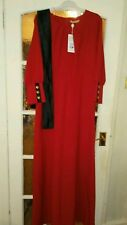 Women long party or dinner dress red colour plus black belt size UK 18 & 14