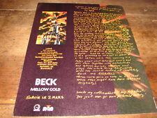 BECK - PUBLICITE / ADVERT MELLOW GOLD !!!!!!!!!!!