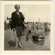 Vintage old photo-snapshot-woman boats port Harbor Fisherman-boat