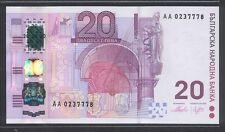 2005 Bulgaria 20 Lev,1st Prefix  AA,Hybrid Polymer Note  - UNC