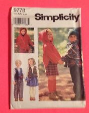 Size 2 3 4 Skirt Pants Hooded Top Vest  Toddler boy girl sewing pattern uncut FF