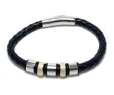 Mens Two Tone Stainless Steel Bangle Leather Band Bracelet Fashion Jewelry