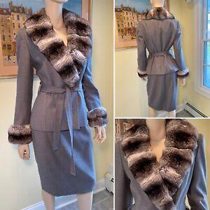 Vtg DAVID HAYES Size 8/Med Gray 100% Wool & Genuine Chinchilla Fur SKIRT SUIT