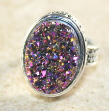 SILVER Vintage Style Purple Rainbow Titanium Druzy 15x20mm Ring Size 8