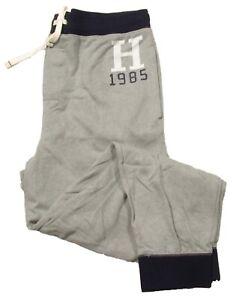 "Tommy Hilfiger Sleepwear Men's Gray ""H"" Logo Print Contrast Jogger Pants"