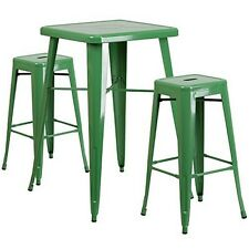 Green Metal Indoor-Outdoor Bar Table Set With 2 Backless Barstools New