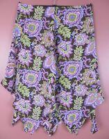 SK15445-JONES NEW YORK Women's 100% Silk Asymmetrical Skirt Multicolor Floral 14