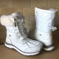 UGG Adirondack III Quilt White Waterproof Leather Fur Snow Boots Size 8 Womens