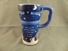 Christmas Travel Coffee mug blue white ceramic snowman moon teacup spirit heart