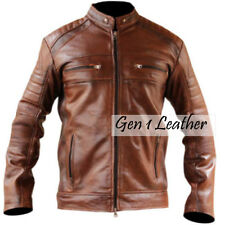 Cafe Racer Vintage Biker Motorcycle Biker Brown Leather Jacket  Sale