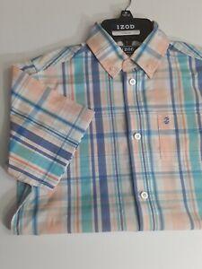 Boys Short Sleeve Oxfort Dress Shirt Size 10-12 M Multicolor Plaid - IZOD®