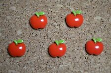 Set of 5 RED APPLE bulletin board pushpins, thumbtacks, or magnets