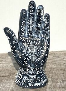 All the Seeing Eye Rasma Hand Collectible Zen Home Decor in Charcoal Black