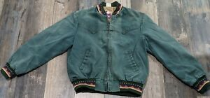 Vintage Walls Mountain Jacket Large Coat Aztec Green Distressed Western Zipper