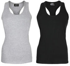 Ladies sleeveless Bodycon Vest Top, Racer-Back, Gym Top ,stretchy cotton,bestbuy