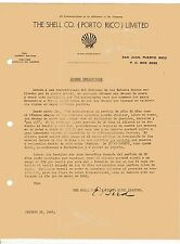 Vintage Commercial Letter / The Shell Co. Porto Rico / S.J. Puerto Rico / 1942