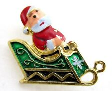 Santa Clause On His Sleigh Vintage Christmas Enamel Xmas Enamel Pin Brooch*S303