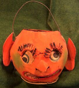 Antique German Halloween Paper Mache Rare Goblin Jack-o-Lantern Lantern