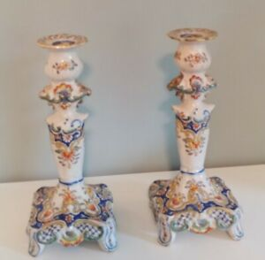 SALE! Pair of Antique Faience Candlesticks. Great Condition. Blue/Orange/Yellow.