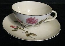 WORLD WIDE TEA ROSE TEA CUP & SAUCER MADE IN JAPAN BEAUTIFUL ROSES  SILVER TRIM