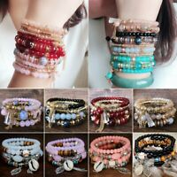 4Pcs/Set Multi-layer Boho Crystal Beaded Beads Chain Cuff Bracelets Bangle Set