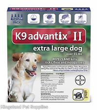 K9 Advantix II Extra Large Dogs (Over 55 lbs, 4 Month Supply) USA EPA APPROVED