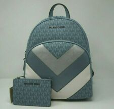 Michael Kors Abbey Medium Pale Blue Signature Backpack/Coin Pouch ID Wallet Set