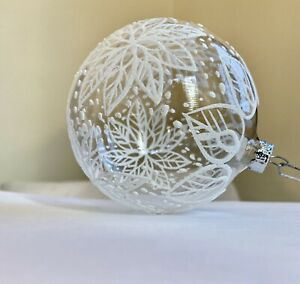 Christmas Winter Ornament Hand Blown Made in Czech/Slovak Republic White Clear