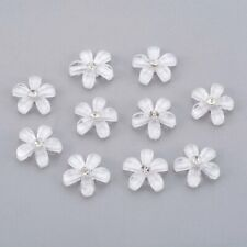 10pcs Transparent Resin Cabochons w/ Rhinestone Flower White Flat Back 10mm