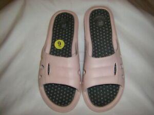 Fila Pink Comfort Slides Gray Logo Women's Size 9 NEW