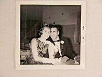 Vintage Black & White Snapshot Young Couple Tuxedo Prom Dress B&W Photograph