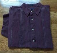VAN HEUSEN STUDIO WASHABLE LINEN Men's Short Sleeve Button Up L(16-16.5) EUC