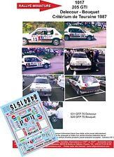 DÉCALS 1/24 réf 1017 PEUGEOT 205 GTI Delecour  Critérium de Touraine 1987
