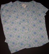 NWT Encore Karen Neuburger White/Blue TILE MEDALLION Pajama CAPRI Pants Set L