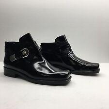 Stuart Weitzman Black Leather Calf Hair Buckle Ankle Boots Women's SZ 5 NWD