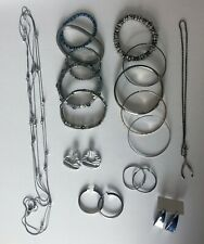 Mixed lot of Silver Tone Fashion Jewelry Earrings Necklaces Large Grab Bag